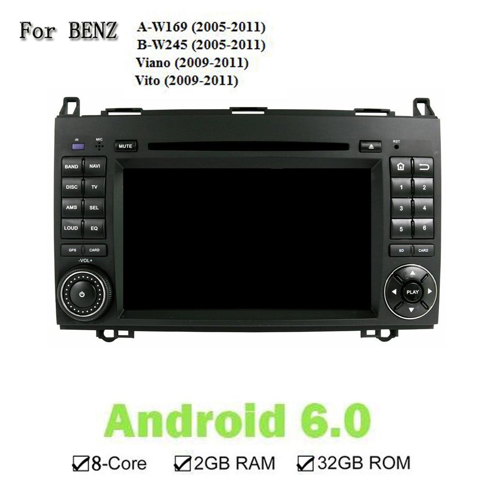 Android 6.0.1 2 Din dvd-плеер автомобиля для Benz A-W169 B-W245 Viano Vito 1024*600 Процессор 1,6 г авто мультимедиа Стерео СБ Navi Wi-Fi