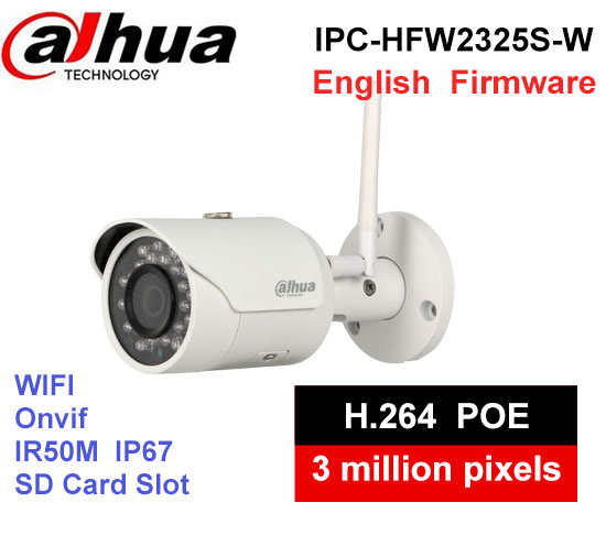 Dahua IPC-HFW2325S-W 3MP IR50M IP67 built-in WIFI SD Card slot Network outdoor WIFI Camera replace IPC-HFW1320S-W IP Camera цены онлайн