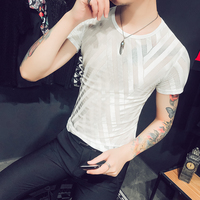 Fashion 2018 Summer Top Mens See through T Shirts Stripe Transparent Erkek Tshirts Homme Sexy Club Outfits Black White Mesh Tee
