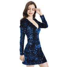 35c27db63e Azul Vestido de Lentejuelas Vestido de las mujeres Sexy Club vestidos 2019  Slim Fit Vestido Bodycon