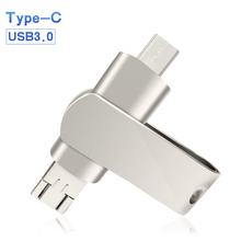 Luxury Flash Drive USB 3.0 Metal Real Capacity Disk 32GB 64GB 16GB 128GB Pendrive Type C For Android Laptop PC