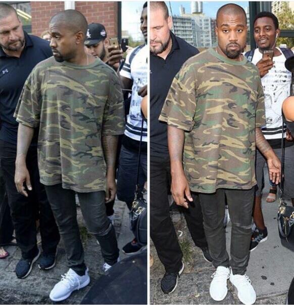 mens hip hop clothing 2016 fashion t shirt kaneywest yeezy season1  camouflag oversize tee short b9b032122