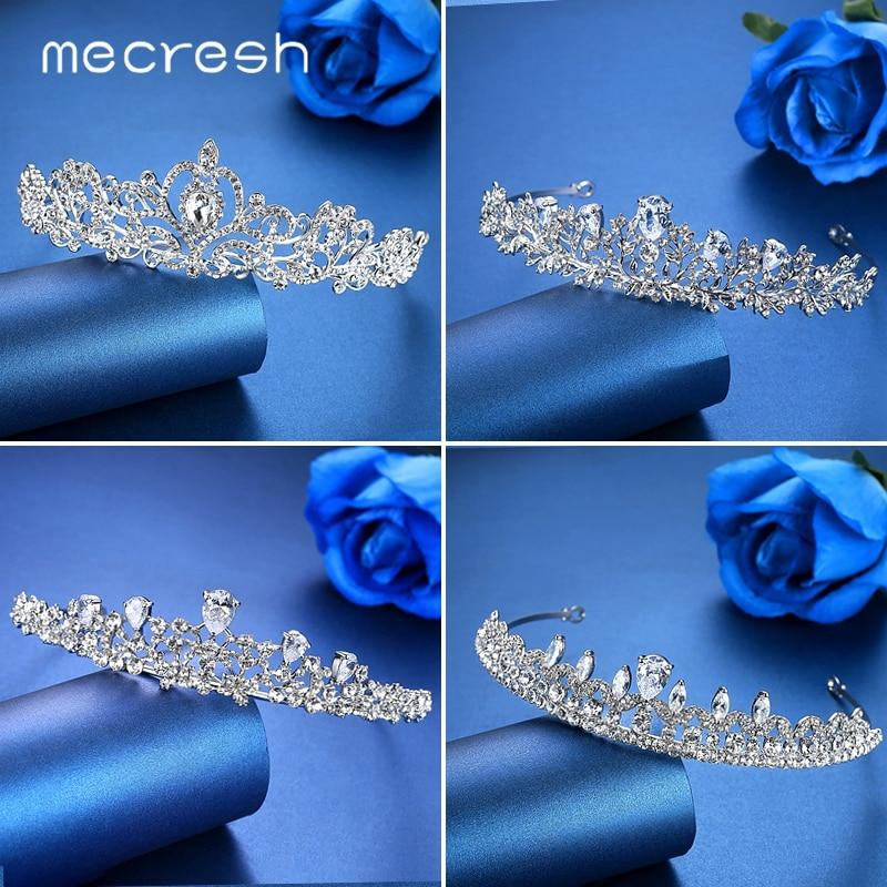 Mecresh Plant CZ Bridal Crown Tiara for Women Rhinestone Crystal Headband Wedding Hair Accessories Jewelry Hair Ornaments G126
