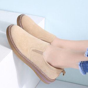 Image 5 - STQ 2020 Autumn Women Flats Sneakers Shoes Women Slip On Flat Loafers Suede Leather Shoes Handmade Boat Shoes Black Oxfords 978