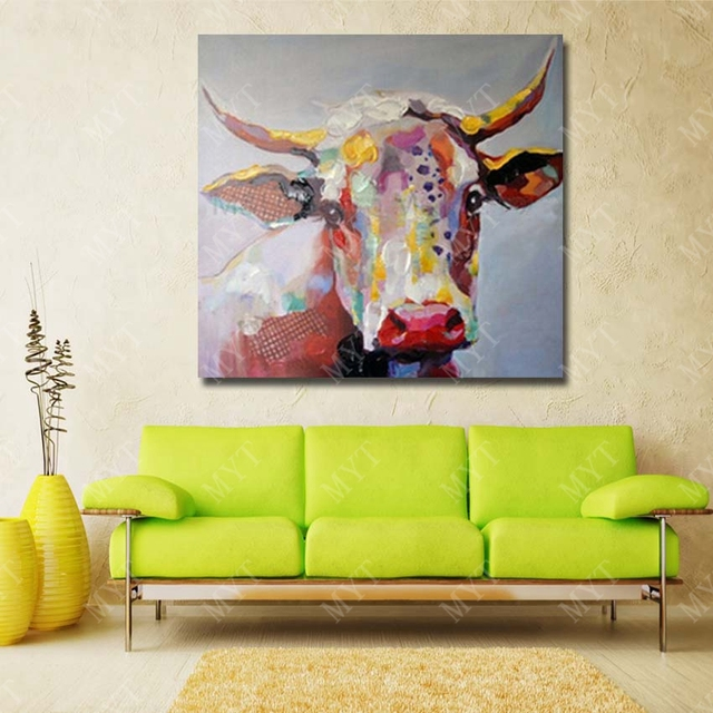 Free delivery high quality red abstract art pure hand painted cow ...