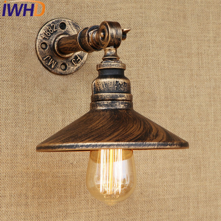 IWHD Retro Loft Style Antique Water Pipe Lamp Industrial Edison Wall Sconce Iron Vintage Wall Light Fixtures Indoor Lighting iwhd iron water pipe loft led wall lamp rh retro industrial vintage wall light bedside fixtures home lighting indoor luminaire