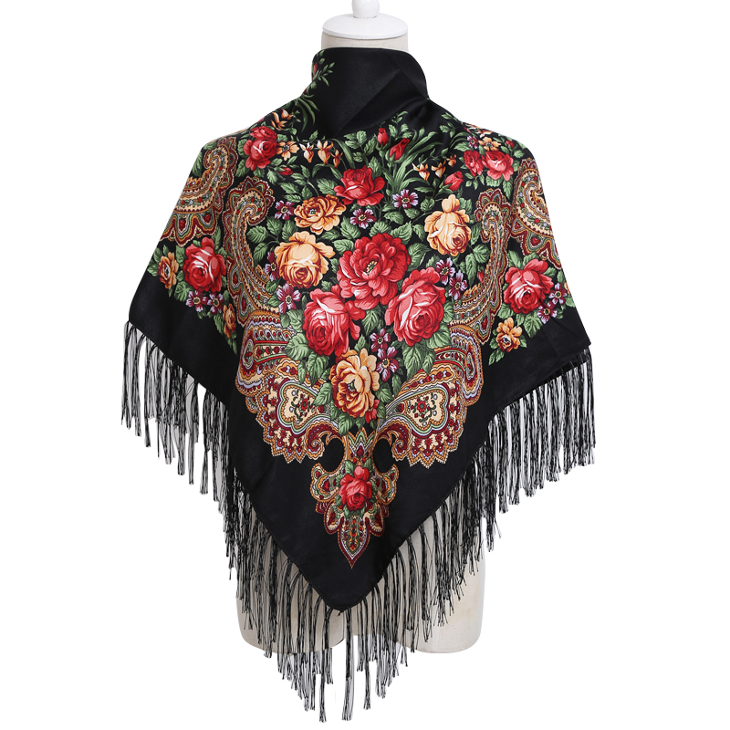 Russian Winter   Scarf   Fashion Square Bandana Cotton print tassel   Wrap   hijab Handkerchief Shawl   scarves   for women