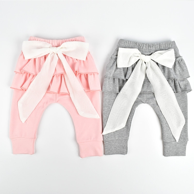 a2552e71f 2016 Ins New Big Lace Bow-knot Baby Girls Pp Harem Pants Infant Bebe  Leggings