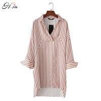 H SA 2017 Women Summer Dressed Plus Size Vertical Striped Shirt Dress Turn Down Collae Long