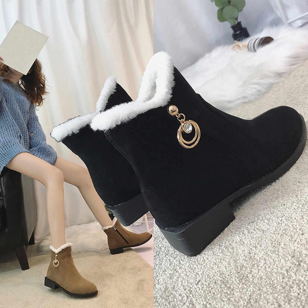 Kadın Kar Botlar Yuvarlak Toe Ayakkabı Düz Renk Suqare Topuklu Fermuar Süet Sıcak Tutmak sapato feminino estampado # L4