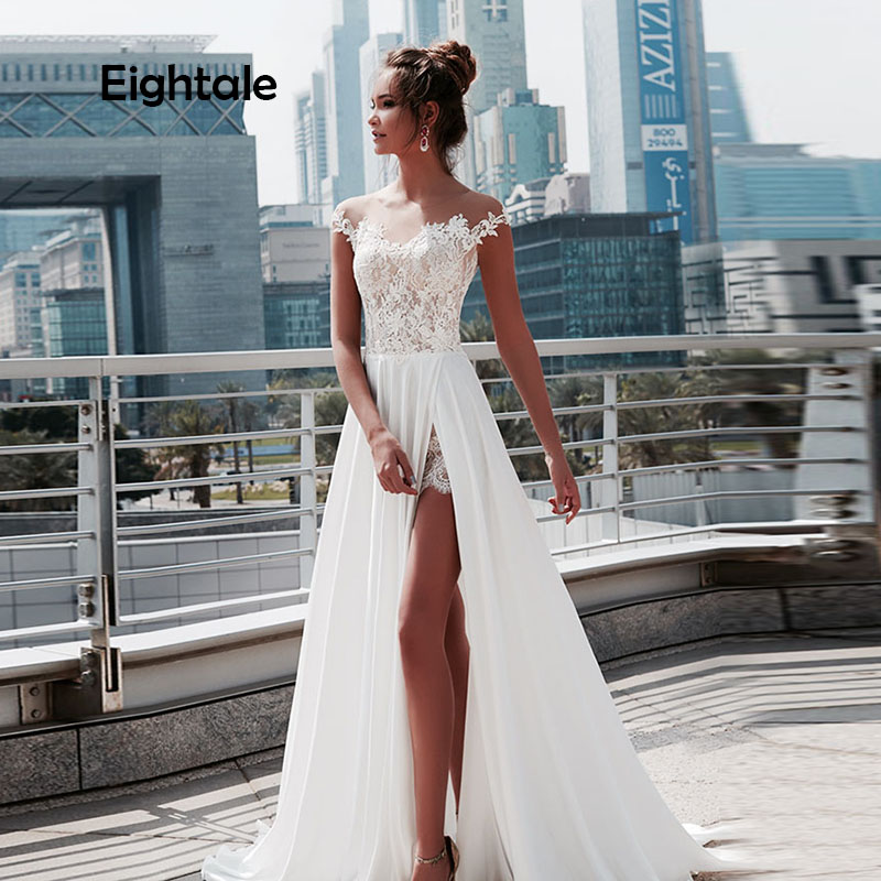 Eightale Vintage Wedding dresses Beach Scoop Appliques Lace Boho Wedding Gowns Cap Sleeve Chiffon Simple Bride