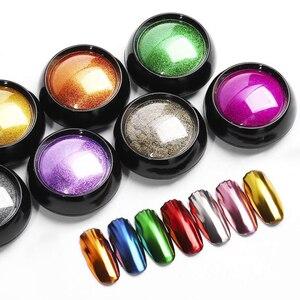 Image 5 - Arte do prego brilho espelho em pó brilhante cromo brilho esfregar pigmento em pó para o design do prego manicure pérola espelho brilho 0.5g nmcb