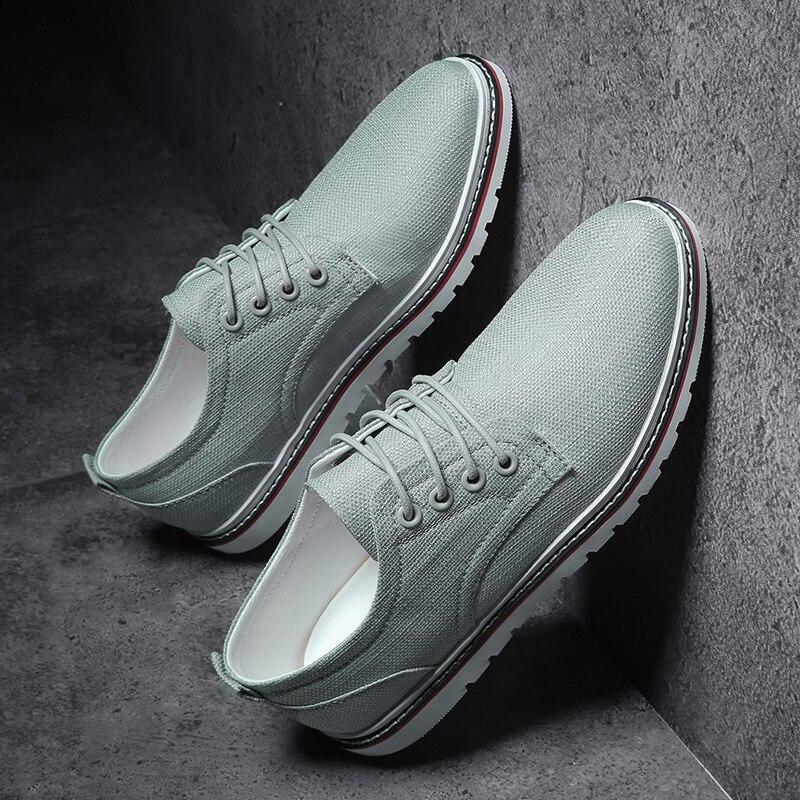 Fashion Brand Men Shoes Breathable Casual Canvas Shoes Men Hemp Lace-up Comfortable Sneakers Black Espadrilles Men Flats Zapatos