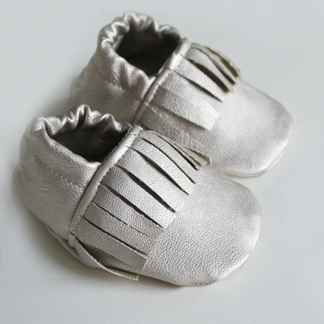 real leather baby shoes girls first walker baby moccasins silver fringe Toddler Moccs Christmas gift