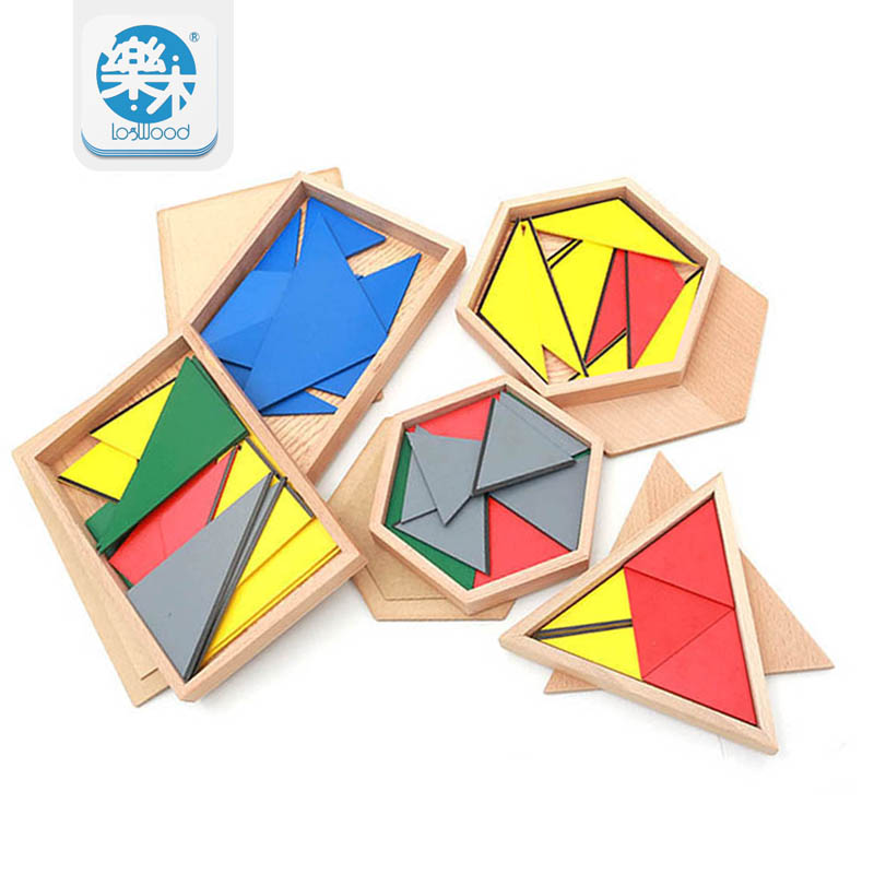 Montessori materials constitute a triangle Educational Wooden Toys For Children Constructive Triangles With 5 Boxes Early Presc montessori math toys montessori materials preschool geometry constructive triangles color equilateral triangle ud2065h