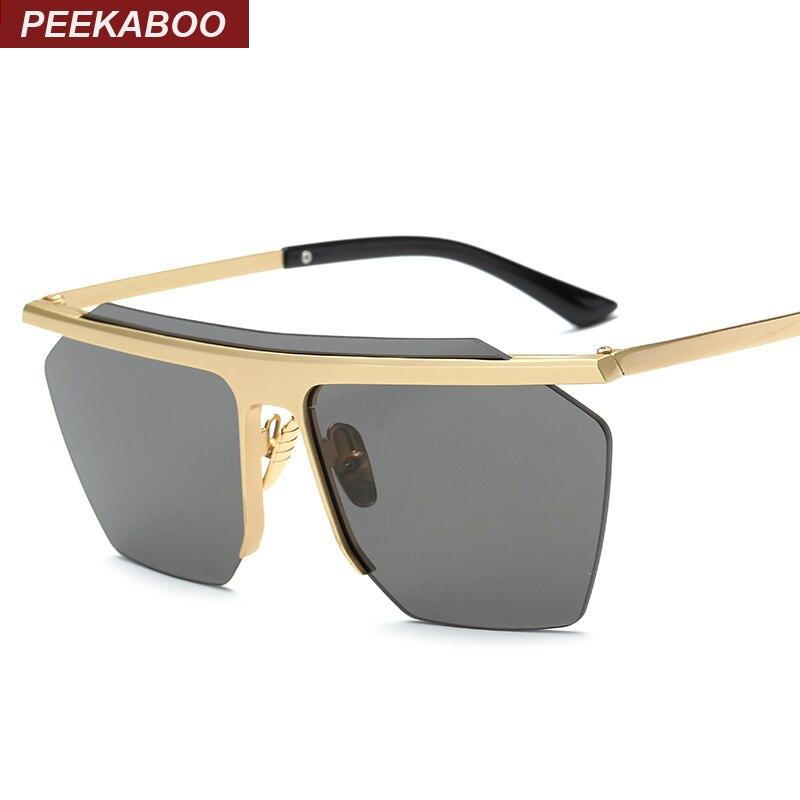 Peekaboo Vintage mirrored rimless sunglasses polygon metal gold fashion big one piece lens sunglasses men women COOL lentes