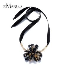 Grandes rhinestone de Acrílico declaración cadena collares colgantes de Alambre eManco 2016 marca nueva moda collares mujeres accesorios NL13015