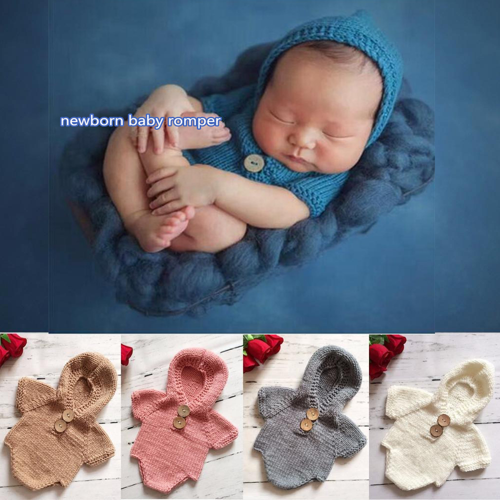 Newborn Baby Cute Crochet Romper Knit Costume Prop Photo Photography Baby Hat Photo Props New born baby girls Cute Hooded Outfit christmas cute crochet knit costume prop outfits photo photography baby ear hat photo props new born baby girls cute outfits