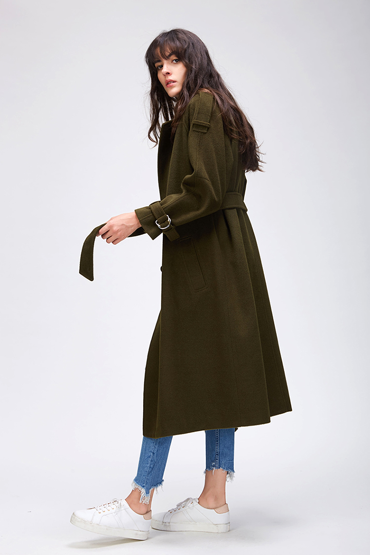 JAZZEVAR 19 Autumn winter New Women's Casual wool blend trench coat oversize Double Breasted X-Long coat with belt 860504 18