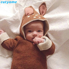 Cutyome 2017 Baby Boys Girls Sweater Kids Deer Ear Costume Dot Cardigan Clothes Animal Knitted Crochet Sweater Outwear Clothing