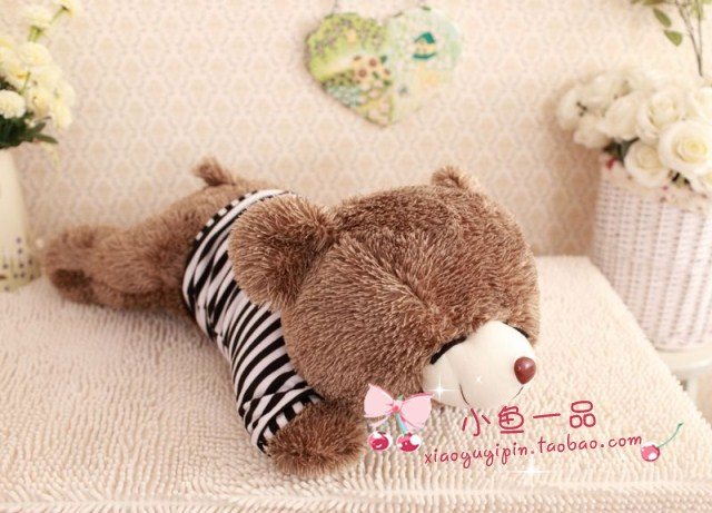 cute small size lying bear toy font b plush b font sleeping in black stripe cloth