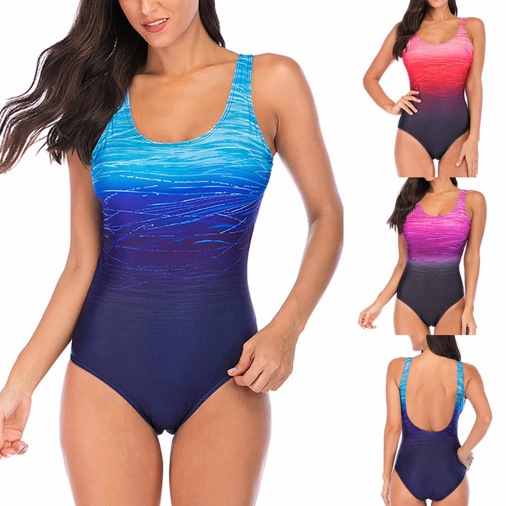 2019 Sexy One Piece Swimsuit Women Vintage Swimwear Female Bathing Suits High Waist Swimsuit Beach Wear Monokini Plus Size XXXL