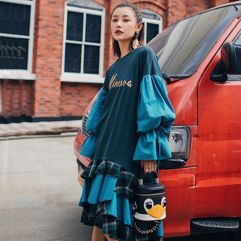 2019 Spring and Summer Casual Cascading Ruffle Dress Women Lantern Sleeve Irregular Dress