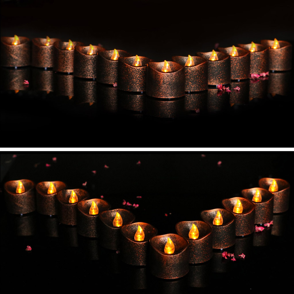 Baoblaze VIntage Flameless LED Candle Flickering Tea Light Candle for Wedding Decor Black