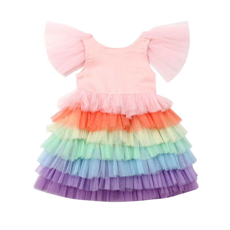 Dress Rainbow Toddler Short-Sleeve Bridesmaid Party-Pageant Baby-Girl Elegant Formal