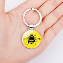 Honey Bee Cute Animal Pendant Key Chains Glass Metal Silver Key Rings Holder Bag Decoration(China)