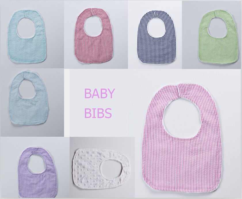 1607d3726 Monogrammed Poliéster Limpa Facilmente bebê bibs planície  gingham seersucker tarja babadores bib minky bebê de