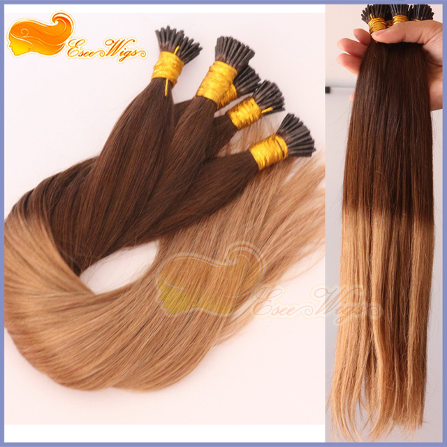 Free Shipping Ombre I Tip Hair Extensions 1g 4t8 2 Tone Brazilian Virgin Hair I Tip Human Hair Stick Tip Ombre Hair Extension In Fusion Hair