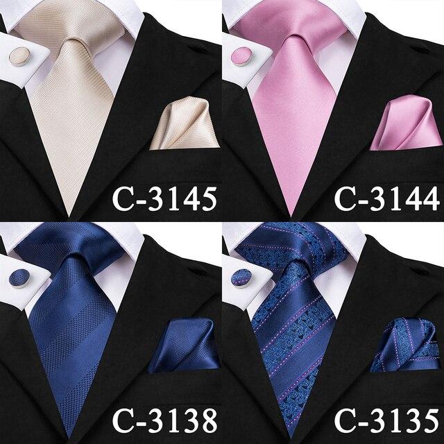 C-3129 Hi-Tie Luxury Silk Men Tie Gold Floral Dark Green Necktie Handkerchief Cufflinks Set Fashion Men's Party Wedding Tie Set 4