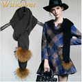 Fashion brand Genuine real raccoon fur pom pom woolen warm winter scarf women knitted women fur shawl with two hairball