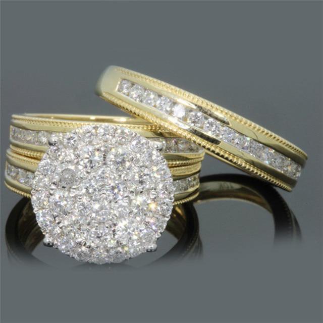 BOAKO יוקרה טבעות לנשים גדול ריינסטון זירקון אבן טבעות חתונה טבעת סט דובאי זהב Femme bague זוג המפלגה תכשיטים z35