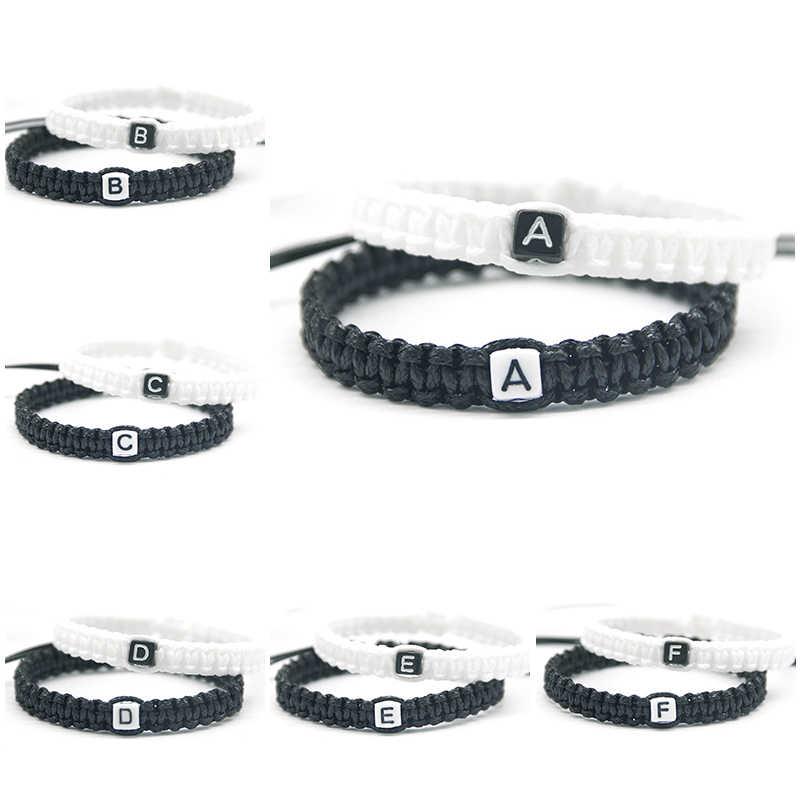 2 unids/par cordón blanco y negro hecho A mano con brazaletes cadena soga ajuste tamaño para amantes amigos regalos de joyería con cuentas