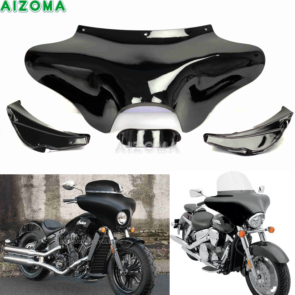Motorcycle Front Outer Shades Batwing Fairing w/Windshield Cowling Mask For Hyosung Triumph Victory Harley Suzuki Yamaha V-star Motorcycle Front Outer Shades Batwing Fairing w/Windshield Cowling Mask For Hyosung Triumph Victory Harley Suzuki Yamaha V-star