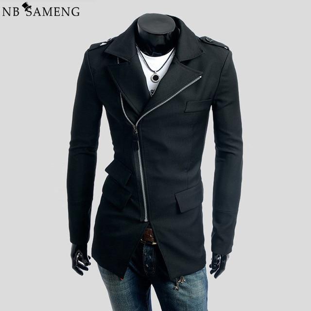 New Arrival Spring Autumn Slim Long Trench Coat Men Casual Zipper Gothic Jacket Mens Suit Overcoat Black Coats Cappotto C007