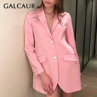 GALCAUR Blazer For Women Lapel Collar Diamond Button Patchwork Long Sleeve Large Size Coat Female Ladies OL Fashion 2019 New