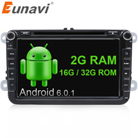 Eunavi 2G RAM 2 Din Android 6 0 Vw Car Dvd For Polo Jetta Tiguan VW