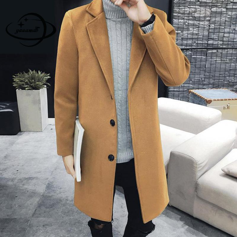 YAUAMDB men wool 2017 winter size M-3XL male woolen blend overcoat jacket solid coat casual single breasted outwear y76