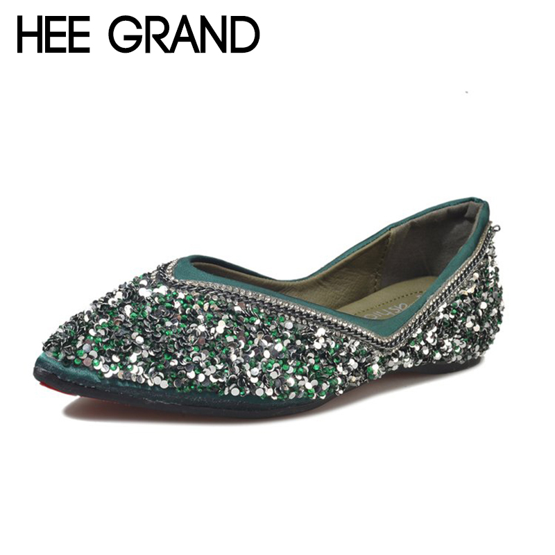 HEE GRAND 2018 New Arrive Sequins Decoration Women Spring Flats Pointed Toe Shallow Women Causal Fashion Slip-op Shoes XWD6558 lin king fashion pearl pointed toe women flats shoes new arrive flock casual ladies shoes comfortable shallow mouth single shoes