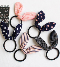 JZJR Lovely Rabbit Ear Scrunchies Cute Hair Ties Striped Dot Elastic Hairband Girls Accessories for Woman Rope Gum