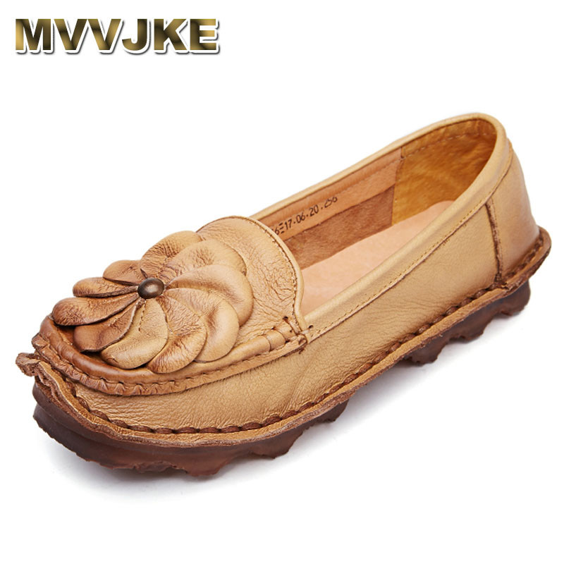 MVVJKE  Flats Women Shoes 2018 New Women Casual Shoes Breathable Slip-On Loafers Ballet Flats Handmade Leather Ladies Shoes pl us size 38 47 handmade genuine leather mens shoes casual men loafers fashion breathable driving shoes slip on moccasins
