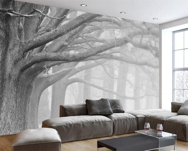 Beibehang Tapete Moderne Minimalistischen Grau Nebel Baum TV Hintergrund  Wand 3d Wohnzimmer Schlafzimmer Wandbild Dekoration 3d