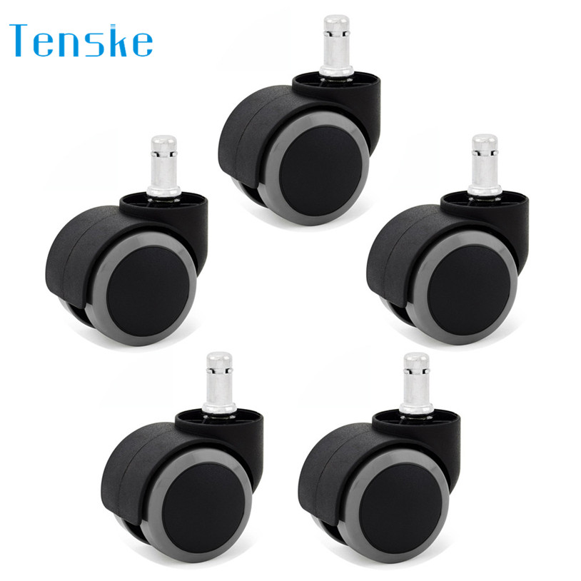 TENSKE 5 Set Office Chair Caster Wheels Rollerblade Office Chair Replacement Wheels U70502 4pcs set black plastic 40mm replacement angle brake swivel casters office chair wheels furniture hardware rolling roller caster