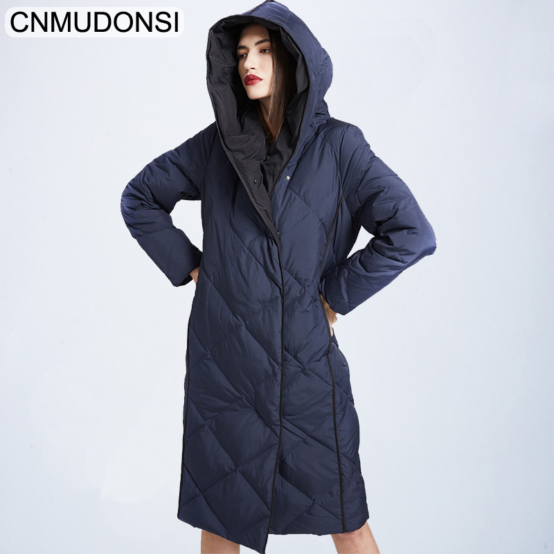 CNMUDONSI 2019 winter new fashion brand high quality White duck   down   hit colors Argyle women   down     coats   full sleeve   down   jackets