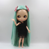 Blygirl Blyth Doll Light Green Straight Hair 30cm Naked Baby Body Joints Body 19 Joints Can