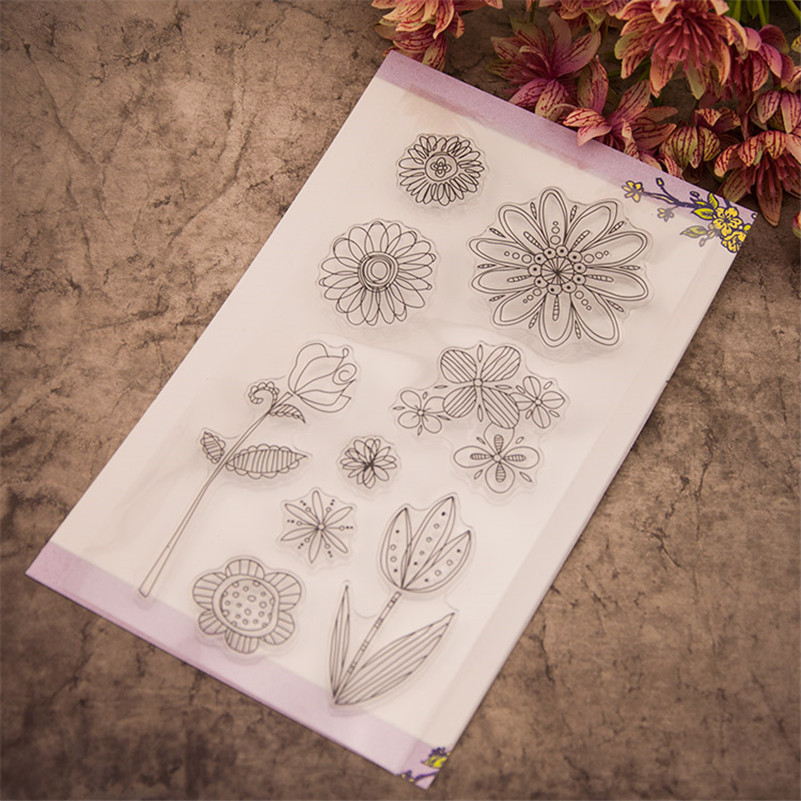 Spring flowers sunflowers for diy scrapbooking photo album clear stamp stencil for wedding christmas gift craft RM-249