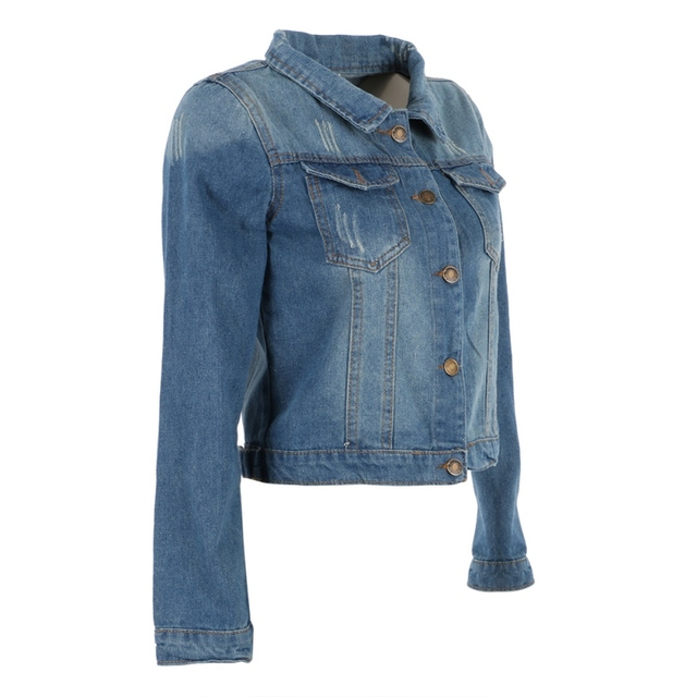 Fashion Women Slim Short Coat Jeans Denim Jacket Long Sleeve Outerwear S-XL